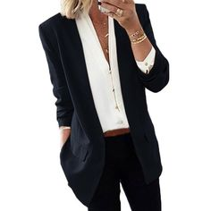 If you're looking for a casual wear, lapel coat look no further than this! Our casual coat will add an instant style upgrade to your closet. Casual Work Outfits, Work Casual, Women's Classic Outfits, Casual Work Clothes, Rock Outfits, Emo Outfits, Business Professional Outfits, Classy Business Outfits, Women's Professional Clothing