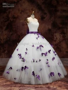 Wholesale Prom Dresses - Buy 2014 Special Style Grape Butterfly Around the Dresses Bow Belt Ball Gown Prom Gowns, $110.87 | DHgate