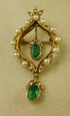 SPECTACULAR 1.20ct EMERALD DIAMOND PEARL DROPPER PENDANT GOLD BROOCH