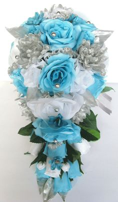 "Wedding Bouquet 17 piece package Bridal Bouquet set AQUA BLUE SILVER Malibu Turquoise Wedding Silk flowers Wedding bouquets ""RosesandDreams"" – Wedding For My Life Aqua Blue, Blue And Silver, Wedding Flower Guide, Flower Bouquet Wedding, Blue Bouquet, Bridal Flowers, Cascade Bouquet, Flower Bouquets, Bride Bouquets"