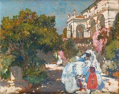 Femmes dans les jardins de la villa Abd-El-Tif à Alger par Léon Cauvy