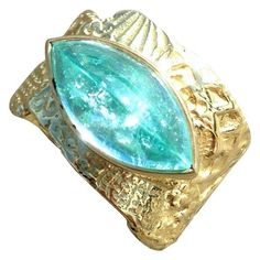 Susan Lister Locke Navette Cut Paraiba Tourmaline Gold Ring