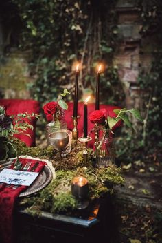 A darkly romantic tablescape inspired by Edgar Allan Poe Photos by Tashana Klonius Gothic Wedding, Forest Wedding, Woodland Wedding, Red Wedding, Wedding Shoot, Wedding Table, Fall Wedding, Witch Wedding, Rustic Wedding