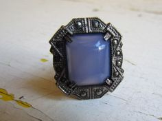 Art Deco Ring / Antique Art Deco Periwinkle Glass and by LUXXOR, $78.00