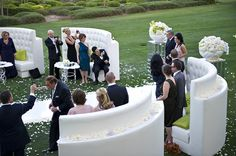 Alternative seating for a ceremony Wedding Ceremony Seating, Wedding Inspiration, Wedding Ideas, Couches, Alternative, Thanksgiving, Party Ideas, Mood, Style