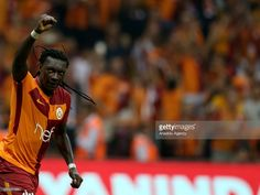 Bafetimbi Gomis of Galatasaray celebrates after scoring a goal during a Turkish Spor Toto Super Lig soccer match between Galatasaray and Kayserispor at Turk Telekom Stadium in Istanbul, Turkey on August 14, 2017.