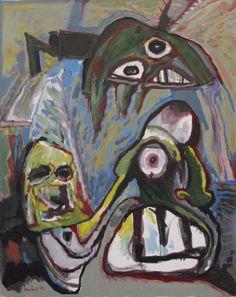 """Lucebert """"kraftmensch"""" 1992 (strongman), 100x80 cm, oils"""