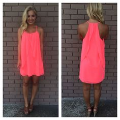 Neon Pink Drape Dress | Dainty Hooligan Boutique