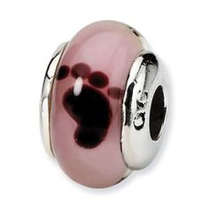 European Charm Bracelets - Sterling Silver Reflections Kids Pink Foot Murano Glass Bead