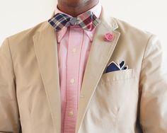 Tan sport coat, pink OCBD, plaid bow tie, navy pants