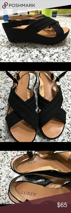 J Crew $148 Women's Black Marcie Suede Wedges  These super fun black J Crew Suede Wedges were originally $148! My loss your gain  In good used condition! These would be so pretty with a pair of jeans or a Spring dress!   Please note that these are size 10, but I am normally a 9 1/2 and these fit perfectly! Let me know if you have any questions! J. Crew Shoes Wedges