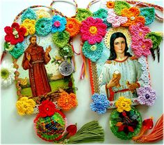 saints with crochet, some very vibrant work on this site!