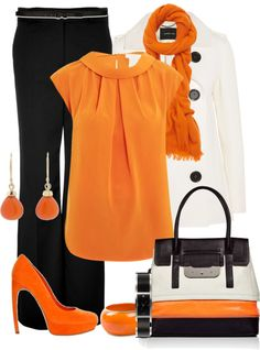 """""""Orange sets: the orange shoes"""" by madamedeveria ❤ liked on Polyvore"""