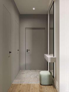 Goodhouse on Behance Black Interior Doors, Modern Interior, Door Design, House Design, Corridor Design, Traditional Cabinets, Hallway Designs, Minimalist Furniture, Built In Wardrobe