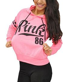 2ebe59d5560 Sea mao New Women s Long Sleeve Hoodie Sweatshirt Casual Hooded Coat  Pullover Pink Printed Hooded Loose Sportwear Fleece Women