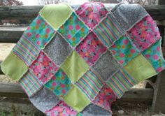 Baby Girl Rag Quilt - Fun and Bright! Made by Heather Miller of Laundry Room Quilts
