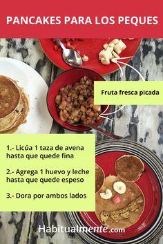Pancakes sanos ¡sin harina y sin azúcar! para los más peques (y los no tan peques) de la casa. Fresco, Beef, Food, Oatmeal Cups, Fresh Fruit, Healthy Recipes, Fast Recipes, Egg, Breakfast