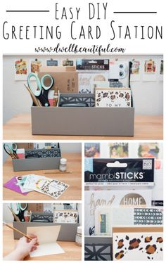 Christmas is coming up - stay ahead of the game with this easy-to-put-together DIY greeting card station! Keep all of your writing supplies in one place so you can easily put together gifts and cards for all occasions - from holidays to birthdays to just because!