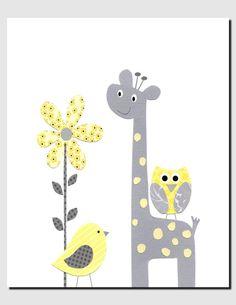 Enfants Wall Art, pépinière gris et jaune, pépinière Art, Art pour enfants, des girafes, des oiseaux, fleur jaune, très jaune et gris, 8 x 10 imprimer