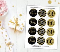 Thank you for visiting and Welcome to our Boutique! See more products at http://www.etsy.com/shop/PaperieAndCreations  To purchase a MATCHING BANNER (3rd photo), please visit link below: https://www.etsy.com/listing/470841421/gold-and-black-party-decor-60th-birthday?ref=shop_home_active_1  **************************************************************** IMPORTANT NOTES BEFORE MAKING YOUR PURCHASE: **************************************************************** • Please read carefully our…
