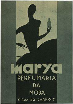 "Marya Perfume Advertisement, 13, April 29, 1930. The Portuguese ""Film Chronicle"" magazine's distinctive advertisement created by designer/illustrator, Lazarus. 1930."