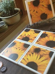 Ceramic tile coasters with sunflower pattern. Made with modge podge,lacquer,cork and felt pads. Ceramic Tile Crafts, Tile Coasters, Etsy Shop, Sun, Ceramics, Handmade Gifts, Flowers, Ceramica, Kid Craft Gifts