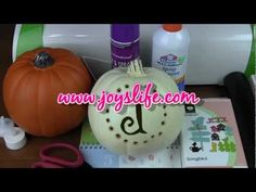 How to Carve and Monogram a Craft Pumpkin. In this video, I use a heat knife to carve a craft pumpkin and the Cricut Expression 2 Songbird cartridge to create a template for personalizing the pumpkin with a monogram. Cricut Expression 2, Cricut Help, Silhouette Cutter, Pumpkin Crafts, Halloween Crafts, Pumpkin Carving, Idea Box, Monogram, Joy