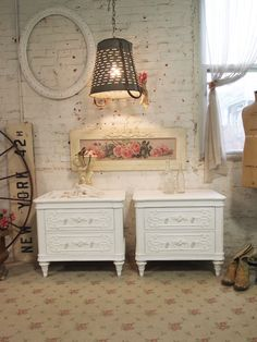 Painted Cottage Chic Shabby White Romantic Pair of French Night Tables NT50. $530.00, via Etsy.