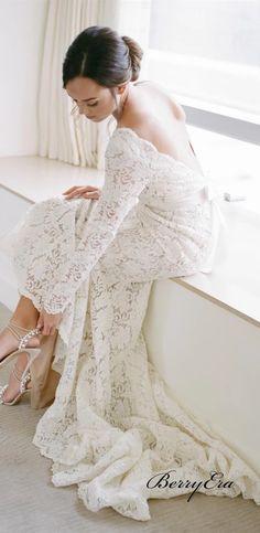 Long Sleeves Deep V-neck Wedding Dresses, Popular Lace Wedding Dresses – Berryera Unique Wedding Gowns, Long Wedding Dresses, Bridal Gowns, Bridesmaid Dresses, Prom Dresses, Lace Wedding, Lace Dresses, Dream Wedding, Wedding Ideas