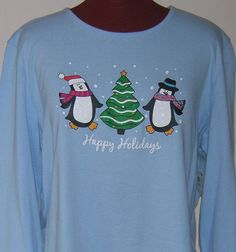 Women Christmas Knit Top Penguin Holiday Editions Round Neck 100% Cotton Sz S #HolidayEditions #TShirt #Casual