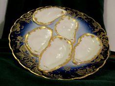 Haviland Limoges Oyster Plate Cobalt Blue