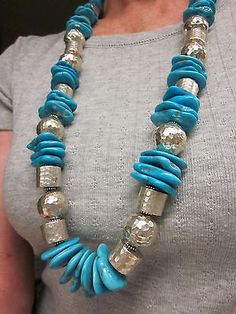 "Massive SHAMAYA Navajo TOMMY SINGER STYLE Sterling Silver TURQUOISE 36"" Necklace - http://elegant.designerjewelrygalleria.com/tommy-singer/massive-shamaya-navajo-tommy-singer-style-sterling-silver-turquoise-36-necklace-3/"