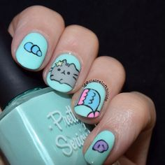 WEBSTA @ clairelofthouse - Combining day 5 mermaid with day 7 pusheen cat with some Pusheen mermaid nails Nail Polish Style, Nail Polish Designs, Cute Nail Designs, Pusheen Cute, Pusheen Stuff, Cute Nails, Pretty Nails, Funky Fingers, La Nails