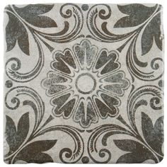 The SomerTile 7.75x7.75-inch Gavras Cendra Décor Dahlia Ceramic Floor and Wall Tile features a matte and antique surface. Wonderful for indoor spaces, this semi-vitreous and easy to maintain product will look great almost anywhere.