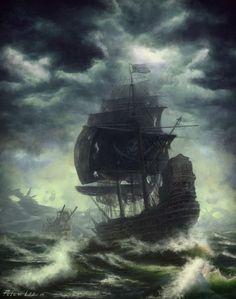 A pirate ship at sea. Arrgghh, batten down the hatches, we be facin' some rough seas. #pirate