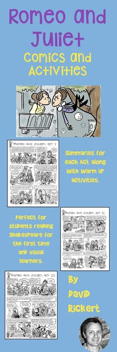 """Help students understand """"Romeo and Juliet"""" with a full set of comics that cover every act of the play. Also included are warm up activities. Perfect for your Romeo and Juliet unit and lesson plans!"""
