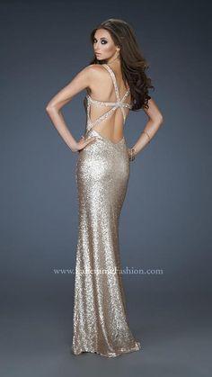 { 18179 | La Femme Fashion 2013 } La Femme Prom Dresses - Open Back - Nude/Gold Sequins - Loose Curls - Elegant Gown
