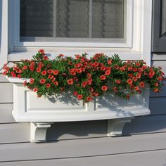 Mayne W x H White Resin Hanging Self Watering Window Box at Lowe's. The Mayne Nantucket Window Box Collection features a bowed front, raised panel design, pronounced crown molding detail and built-in overflow drains. Wood Window Boxes, Window Planter Boxes, Window Shutters, Resin Planters, Plastic Planter Boxes, Nantucket, Vases, Railing Planters, Cedar Planter Box