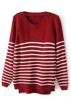 ROMWE   Asymmetric Striped Red Jumper, The Latest Street Fashion