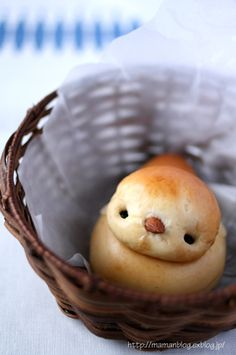 A little chick made out of bread.
