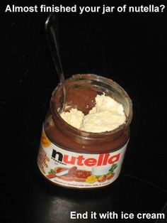 Definitely trying this never wasting Nutella ever. Period. Life hacks