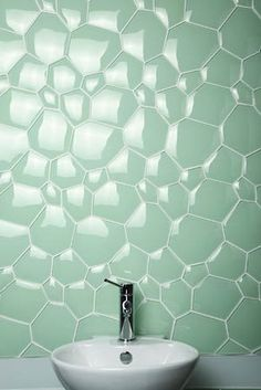 mint tiled wall