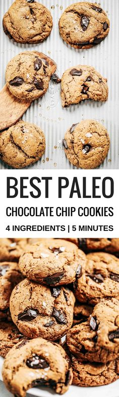 5 Minute Healthy chocolate chip cookies. 4 ingredients. Ready in 5 minutes. Paleo, gluten free, dairy free. The only healthy cookie recipe you will ever need. Easy paleo cookie recipes. Healthy paleo cookies. Easy gluten free cookie recipes. Best paleo cookie recipes. Best easy gluten free cookies. Sugar free cookie recipes. Easy vegan chocolate chip cookies. Healthy chocolate chip cookies. Coconut sugar cookies.