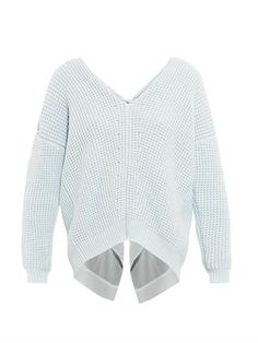 Nina Ricci Open-back silk-trim cotton-blend sweater