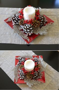 con edi con e 121 absolutely stunning ideas for christmas table decorations page 14 Christmas Candle Decorations, Christmas Candles, Christmas Wreaths, Christmas Ornaments, Christmas Berries, Advent Wreaths, Pine Cone Crafts, Christmas Projects, Christmas Crafts