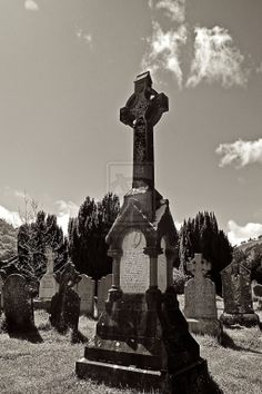 celtic cross on an irish graveyard by alexanderkohn.deviantart.com on @deviantART