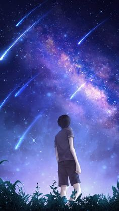 Desktop Wallpaper starry sky silhouette art night starfall meteors hd for pc & mac, laptop, tablet, mobile phone Anime Backgrounds Wallpapers, Anime Scenery Wallpaper, Dark Wallpaper, Anime Artwork, Iphone Wallpaper, Anime Night, Sky Anime, Starry Night Wallpaper, Anime Places
