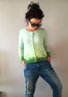 Tie Dye Pistachio Green Cardigan Dip Dye Knitweat Moss by NEIandMO