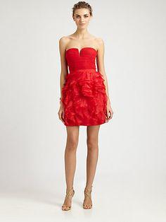 BCBGMAXAZRIA - Strapless Ruffle Dress - Saks.com