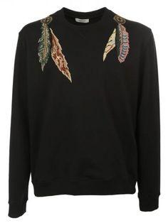 VALENTINO Valentino Feather Embroidered Sweatshirt. #valentino #cloth #fleeces-tracksuits